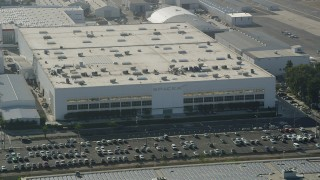 AX68_191 - 5K stock footage aerial video of SpaceX office building in Hawthorne, California