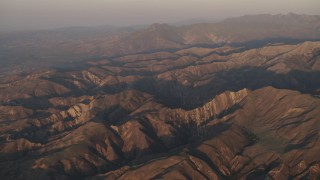 AX70_010 - 4K stock footage aerial video Mountains at sunrise in Los Padres National Forest, California