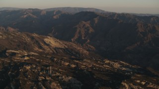 AX70_012 - 4K stock footage aerial video Mountain ridge at sunrise in Los Padres National Forest, California