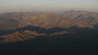 AX70_015 - 4K stock footage aerial video Tall mountains at sunrise, Los Padres National Forest, California