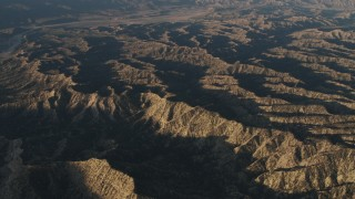 AX70_018 - 4K stock footage aerial video Mountain ridge in the Los Padres National Forest at sunrise, California