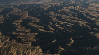 AX70_020 - 4K stock footage aerial video of A view of mountain ridges in Los Padres National Forest at sunrise, California