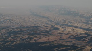 AX70_025 - 4K stock footage aerial video Fly over Los Padres National Forest mountains at sunrise, California