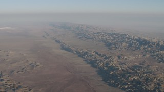 AX70_034 - 4K stock footage aerial video Approach the San Andreas Fault and Temblor Range in California