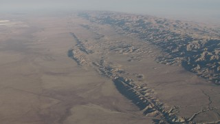 AX70_043 - 4K stock footage aerial video Slow approach to the San Andreas Fault beside the Temblor Range in Southern California