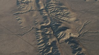 AX70_047 - 4K stock footage aerial video Bird's eye of San Andreas Fault, Southern California