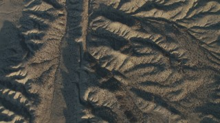 AX70_049 - 4K stock footage aerial video Bird's eye view of San Andreas Fault, Southern California, at sunrise