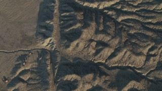 AX70_050 - 4K stock footage aerial video A bird's eye view of the San Andreas Fault in Southern California, at sunrise