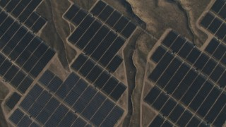 AX70_057 - 4K stock footage aerial video of A bird's eye of solar panels at the Topaz Solar Farm in the Carrizo Plain, California