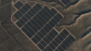 AX70_058 - 4K stock footage aerial video of A bird's eye view of solar panels at Topaz Solar Farm in the Carrizo Plain, California