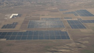 AX70_061 - 4K stock footage aerial video Large panels at the Topaz Solar Farm in the Carrizo Plain, California