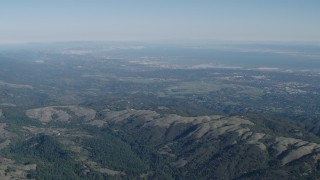 AX70_088 - Aerial stock footage of 4K Aerial Video San Francisco Bay seen from the Santa Cruz Mountains, California