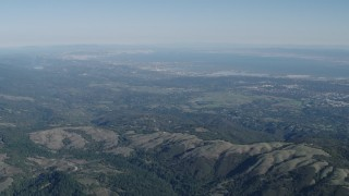 AX70_089 - Aerial stock footage of 4K Aerial Video of A view of San Francisco Bay seen from the Santa Cruz Mountains, California