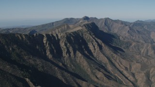 AX70_192 - 4K stock footage aerial video of A view of a mountain ridge in the Los Padres National Forest, California