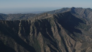 AX70_194 - 4K stock footage aerial video Flyby steep-sloped mountain ridge in the Los Padres National Forest, California