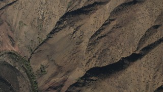 AX70_195 - 4K stock footage aerial video Bird's eye of mountain slopes in the Los Padres National Forest, California