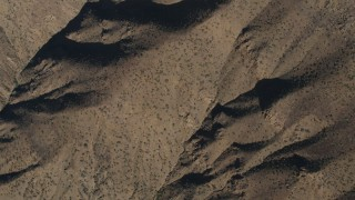 AX70_196 - 4K stock footage aerial video Bird's eye view of mountain slopes in the Los Padres National Forest, California