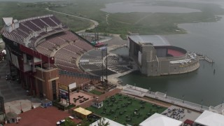 AX71_011 - 5K stock footage aerial video orbiting the Jones Beach Theater, Wantagh, Long Island, New York