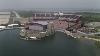 AX71_013 - 5K stock footage aerial video orbiting Jones Beach Theater in Wantagh, Long Island, New York