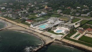 AX71_060 - 5K stock footage aerial video of Breakwater Beach Club and mansions in Long Branch, Jersey Shore, New Jersey