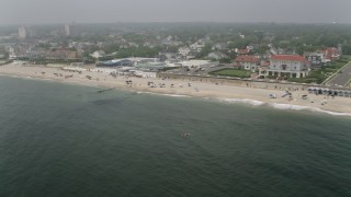 AX71_063 - 5K stock footage aerial video of upscale oceanfront homes and Allenhurst Beach Club in Allenhurst, Jersey Shore, New Jersey
