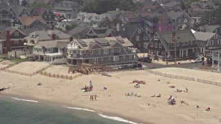 AX71_082 - 5K stock footage aerial video of beachfront homes in Bay Head, Jersey Shore, New Jersey