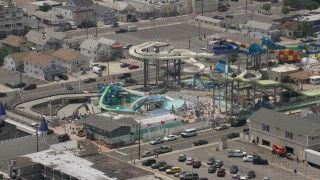AX71_095 - 5K stock footage aerial video of Breakwater Beach Waterpark, Seaside Heights, Jersey Shore, New Jersey