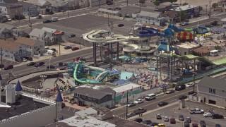 AX71_095E - 5K stock footage aerial video of Breakwater Beach Waterpark, Seaside Heights, Jersey Shore, New Jersey