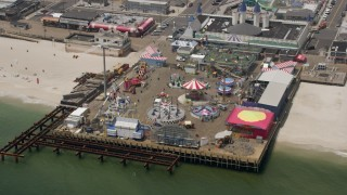 AX71_100 - 5K stock footage aerial video of an amusement park on Casino Pier, Seaside Heights, Jersey Shore, New Jersey