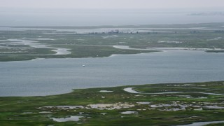 AX71_151 - 5K stock footage aerial video of Cape Horn Marina and marshland in Little Egg Harbor, New Jersey