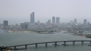 AX71_164 - 5K stock footage aerial video of Revel Casino Hotel seen from Brigantine Bridge, Atlantic City, New Jersey