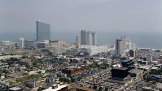 AX71_169 - 5K stock footage aerial video of a row of hotels in Atlantic City, New Jersey