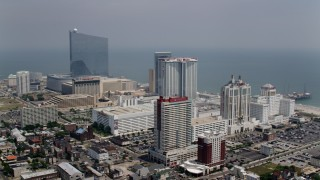 AX71_170 - 5K stock footage aerial video of hotels on the coast in Atlantic City, New Jersey