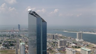 AX71_190 - 5K stock footage aerial video of the top of the Revel Casino Hotel in Atlantic City, New Jersey