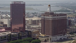 AX71_196 - 5K stock footage aerial video of Claridge Atlantic City hotel in New Jersey