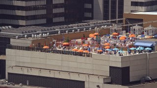 AX71_200 - 5K stock footage aerial video of the pool on the roof of Tropicana Atlantic City in New Jersey