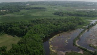 AX72_005 - 5K stock footage aerial video of Marshes and ponds in Cape May, New Jersey