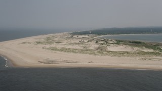 AX72_026 - 5K stock footage aerial video of the beach at Cape Henlopen, Delaware