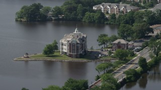 AX72_072 - 5K stock footage aerial video of Compass Pointe office building and Silver Lake in Dover, Delaware