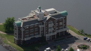 AX72_073 - 5K stock footage aerial video flying by the Compass Pointe office building in Dover, Delaware