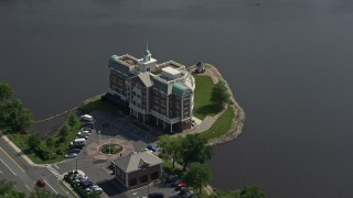 AX72_074 - 5K stock footage aerial video orbiting the Compass Pointe office building in Dover, Delaware