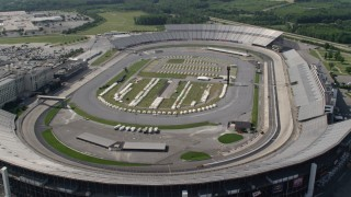 AX72_078 - 5K stock footage aerial video approaching and flying over Dover International Speedway, Delaware