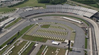 AX72_079 - 5K stock footage aerial video flying over Dover International Speedway, Delaware