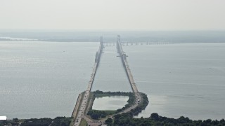 AX72_128 - 5K stock footage aerial video of Chesapeake Bay Bridge, Maryland