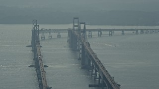 AX73_002 - 5K stock footage aerial video of a view of the Chesapeake Bay Bridge, Maryland