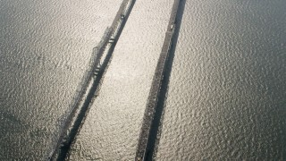 AX73_003 - 5K stock footage aerial video of a bird's eye view of Chesapeake Bay Bridge, Maryland
