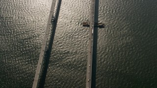 AX73_004 - 5K stock footage aerial video of a bird's eye view of the Chesapeake Bay Bridge in Maryland