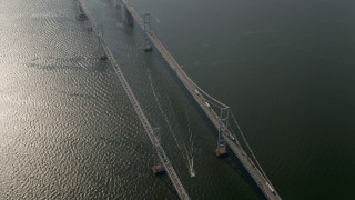 AX73_005 - 5K stock footage aerial video tilting from the Chesapeake Bay Bridge, Maryland