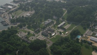 AX73_008 - 5K stock footage aerial video of Naval office buildings in Annapolis, Maryland