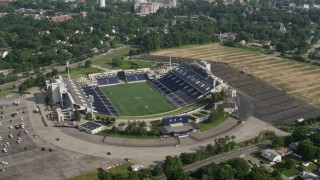 AX73_012 - 5K stock footage aerial video orbiting Navy- Marine Corps Memorial Stadium, Annapolis, Maryland